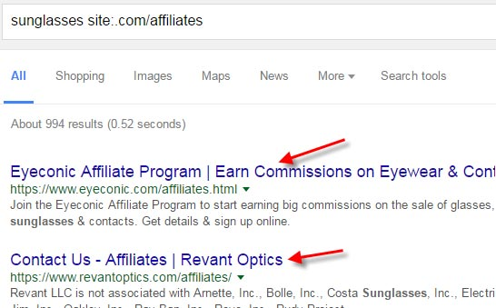 "Search Google for ""Niche site:.com/Affiliates"""