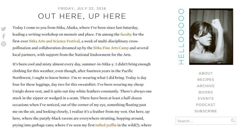 Author, Molly Wizenberg - Orangette.net is a simplistic Blogger site.