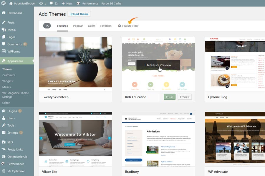 Your WordPress Blog's Featured Themes Preview Page