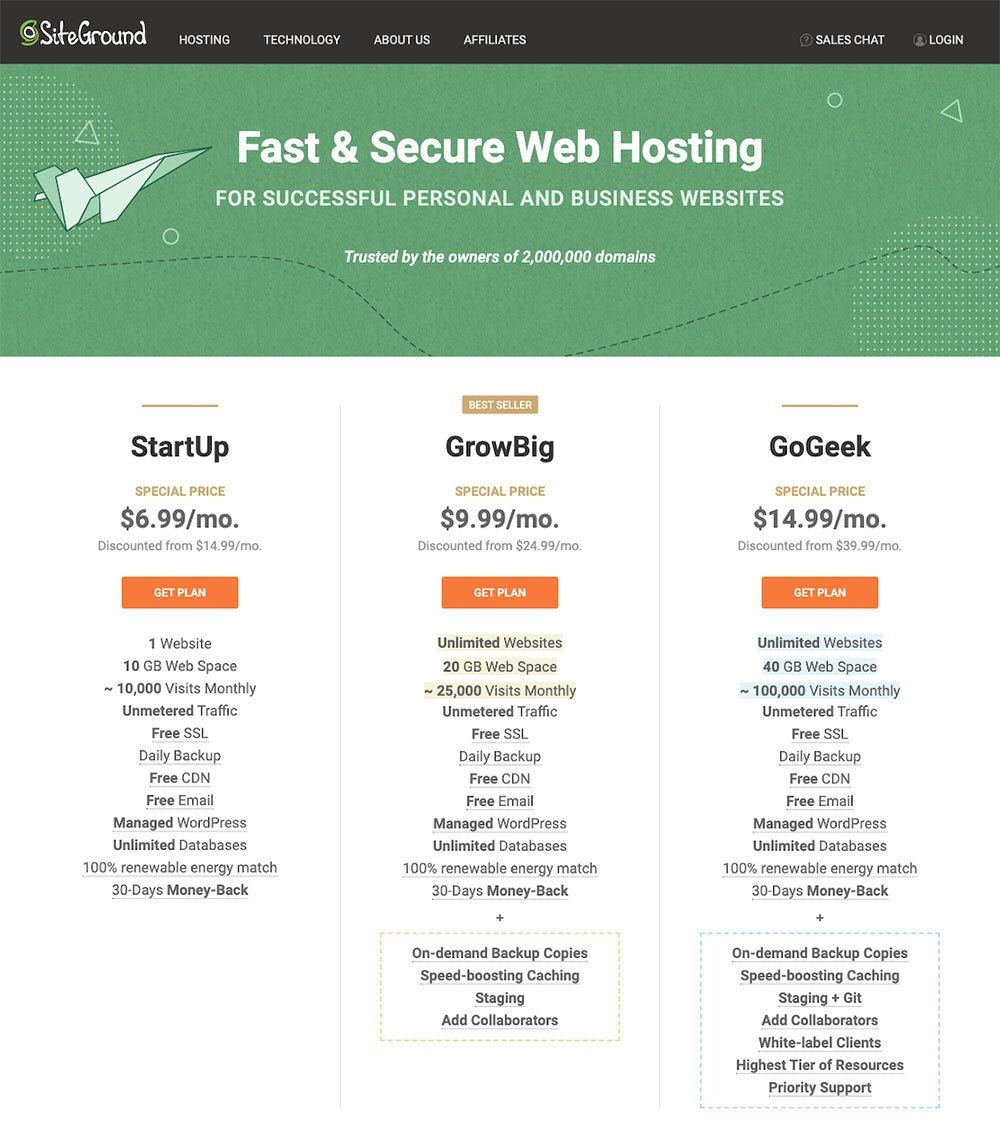 Choose Your WordPress Hosting Plan - SiteGround