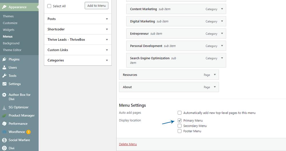 WordPress dashboard Display Location for your menu