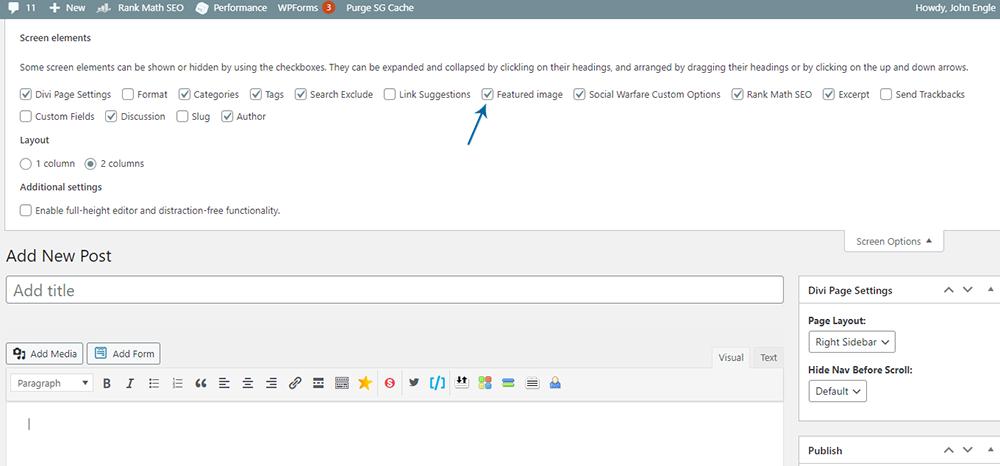 WordPress Posts Edit Box - Screen Options Elements