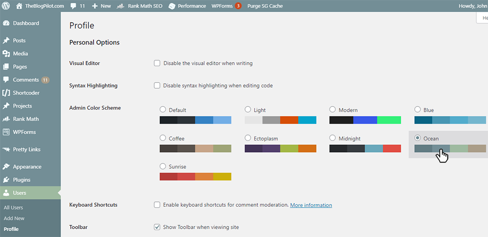 WordPress Users Profile dashboard