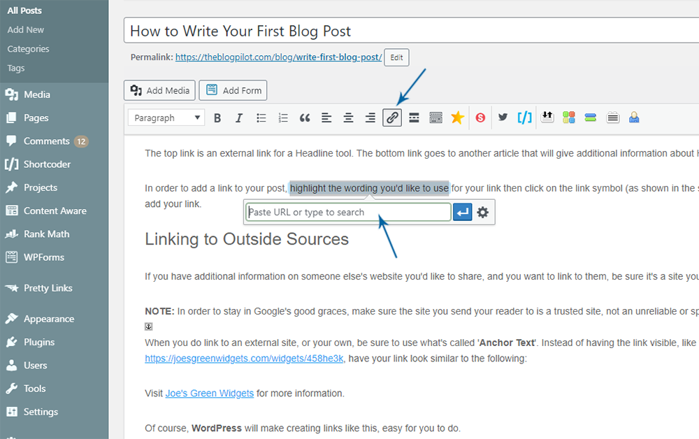 Adding a link to your first blog post.