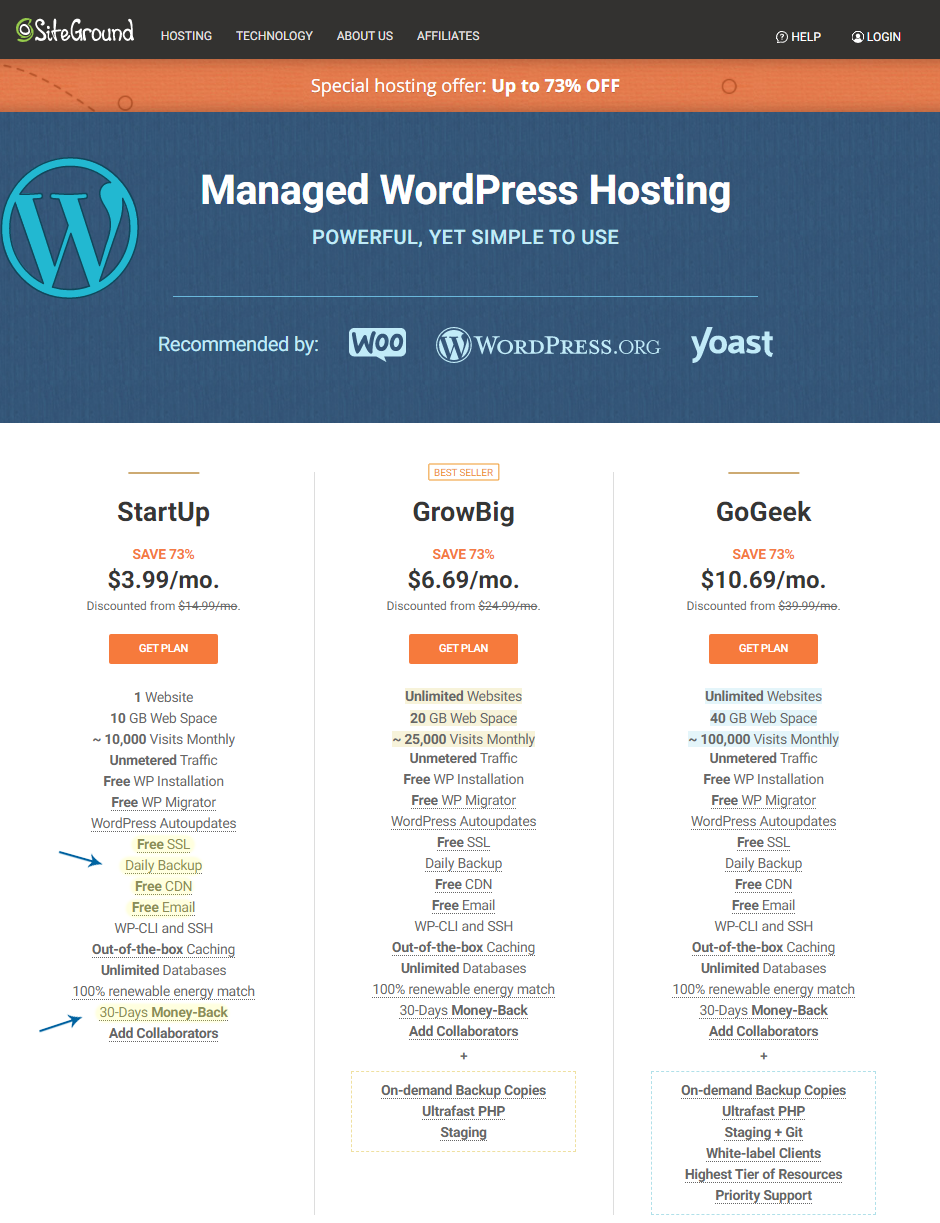 Siteground Managed WordPress Hosting - Discounted for $3.99 a Month